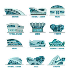 arena building or soccer football stadiums icons vector image vector image