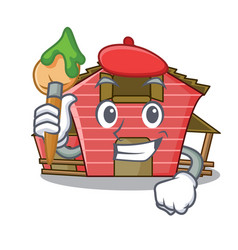 Artist character red barn building with haystack vector