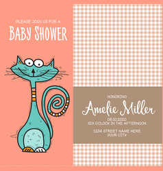 baby shower card template with funny doodle cat vector image