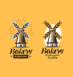 bakery bakehouse logo or icon bread mill vector image