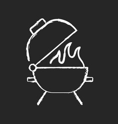 Bbq grill chalk white icon on black background vector