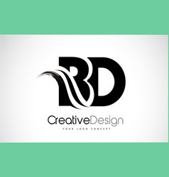 Bd b d creative brush black letters design with vector