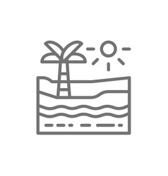 beach with palm tree sea and desert line icon vector image