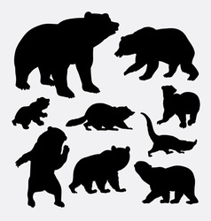 Bear and raccoon wild animal silhouette vector