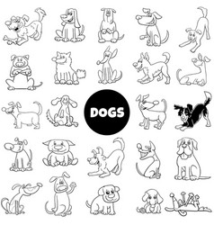 black and white cartoon dog characters large set vector image