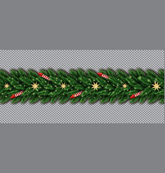 border with christmas tree branches golden stars vector image