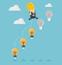 businessman boss up ladder light bulb vector image