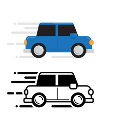 car running color and line flat design vector image