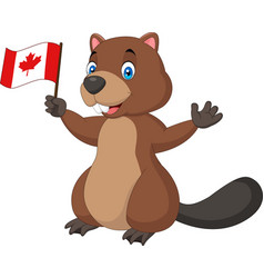 cartoon beaver holding canadian flag vector image