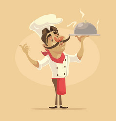chef man character hold dish vector image