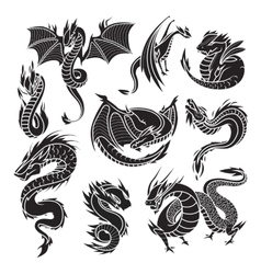 Chinese dragon silhouettes on white background vector