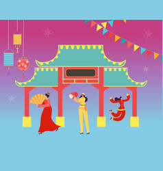 Chinese lunar new year carnival people vector