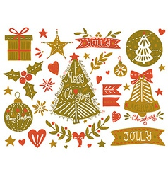 Christmas sketchy set vector image