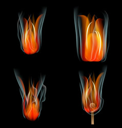 Collection of fires isolated on black background vector image
