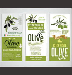 collection of olive oil labels 02 vector image
