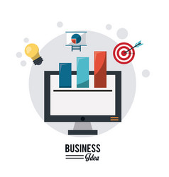 Colorful poster of business idea with desktop vector