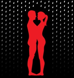 Couple under umbrella vector image