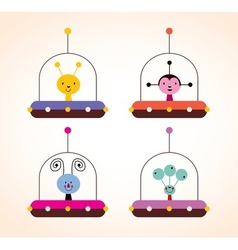 cute aliens in spaceships kids design elements set vector image