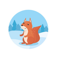 cute squirrel on the background of winter vector image