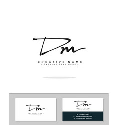 D m dm initial logo signature handwriting vector