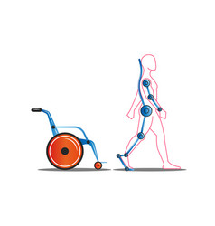 Disabled person getting out a wheelchair using vector