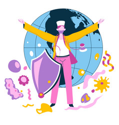 doctor protecting planet from bacteria and viruses vector image