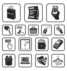E-commerce purchase and sale black icons in set vector