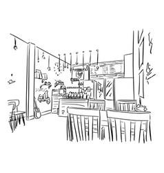 Empty cafe or bar interior sketch vector