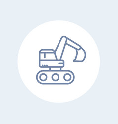 excavator icon in linear style isolated on white vector image