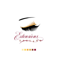 Eyelash extension banner template for makeup and vector
