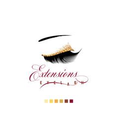 Eyelash extension banner template for makeup vector