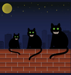 Family cats with green eyes and scary faces vector
