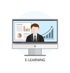 Flat design concept for webinar online learning vector