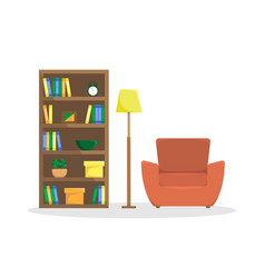flat of reading room vector image