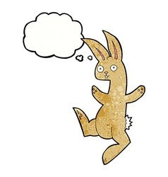 funny cartoon rabbit with thought bubble vector image