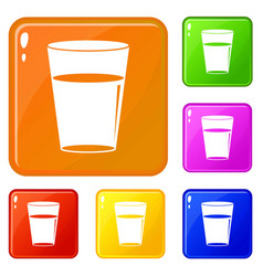glass water icons set color vector image