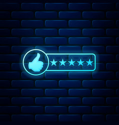 Glowing neon consumer or customer product rating vector