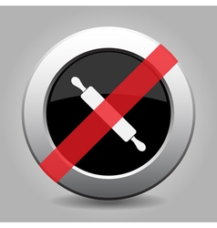 gray chrome button - no rolling pin vector image