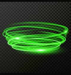 Green neon light shiny twirl vector