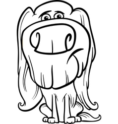 Hairy dog cartoon coloring page vector