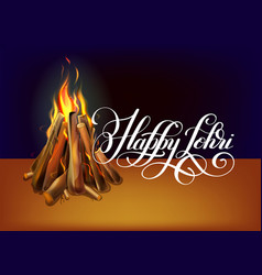 Happy lohri hand lettering celebration design vector