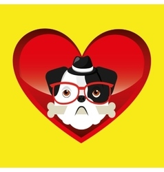 Hipster face bulldog with bone and glasses hat vector