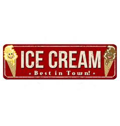 Ice cream vintage rusty metal sign vector