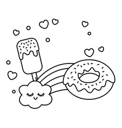 ice lolly donut and rainbow black and white vector image