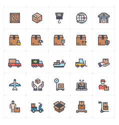 icon set - logistic and delivery full color vector image