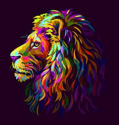 lion abstract multi-colored profile portrait vector image