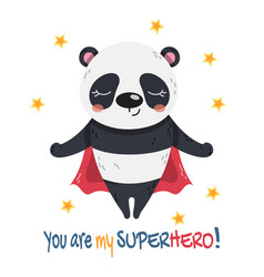 Little panda super hero flying with a red cape vector