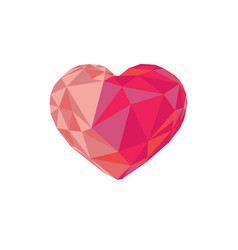 Low poly red crystal bright heart vector