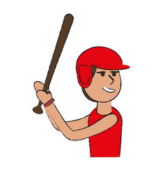 Man playing baseball with helmet and bat sport o vector