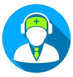 Medical Call Center Flat Round Icon with Long vector
